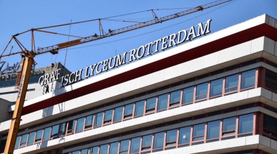 Gigantische lichtreclame voor Grafisch Lyceum Rotterdam