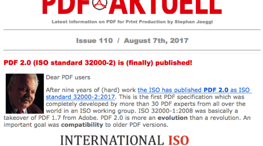 PDF Aktuell 110: ISO 32000-2 (PDF 2.0) finally published, why pre-flight is necessary and more….