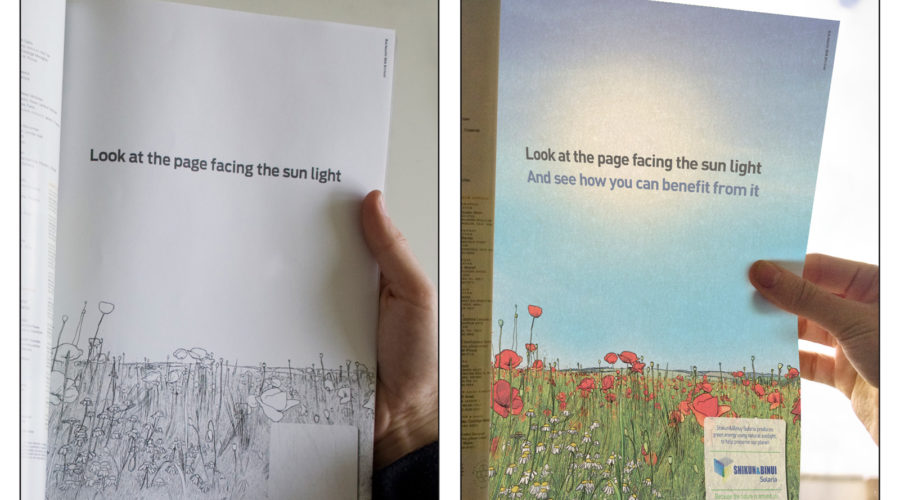 Advertentie werkt op zonne-energie